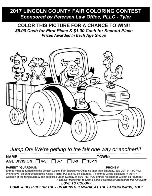 2017 Lincoln County Fair Minnesota Coloring Contest Entry Form